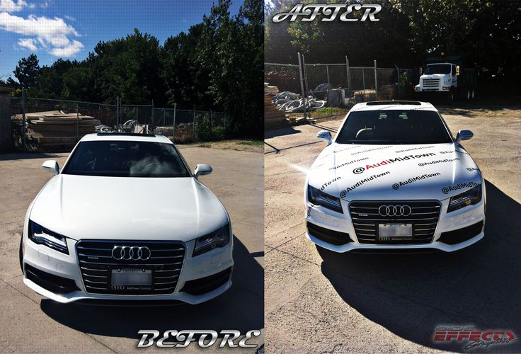 Audi A7 before and after shot; wrapped for Toronto Midtown Audi in preparation for their attendance at the Toronto International Film Festival. Graphics manufactured and installed by Side Effects Graphics.
