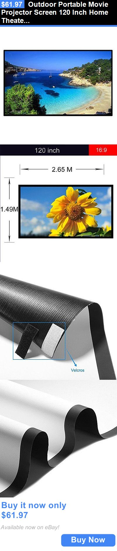 Projection Screens and Material: Outdoor Portable Movie Projector Screen 120 Inch Home Theater Movie Cinema 120 BUY IT NOW ONLY: $61.97