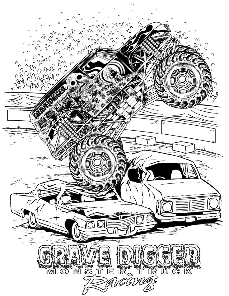 Monster Truck Coloring Pages, letscoloringpages.com, Grave Digger - Coloring Pages