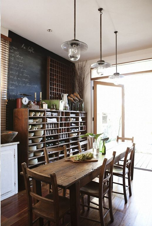 From the pendant lights to the rustic kitchen table and everything else in between
