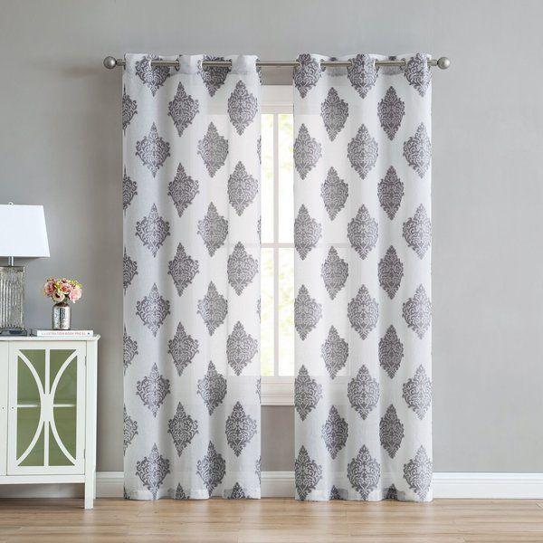 Merlin Medallion Geometric Semi Sheer Grommet Curtain Panels