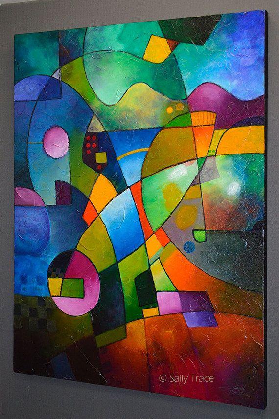 Pintura abstracta pintura original pintura por SallyTraceFineArt