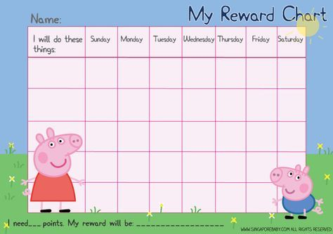 Picture of the Peppa Pig reward chart. Download the free PDF printable file at http://singaporebaby.com/free-peppa-pig-reward-chart/