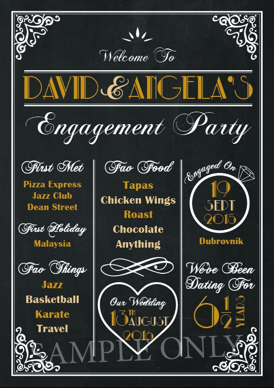 Engagement Party GATSBY THEME Chalkboard by AmyGemptonDesign