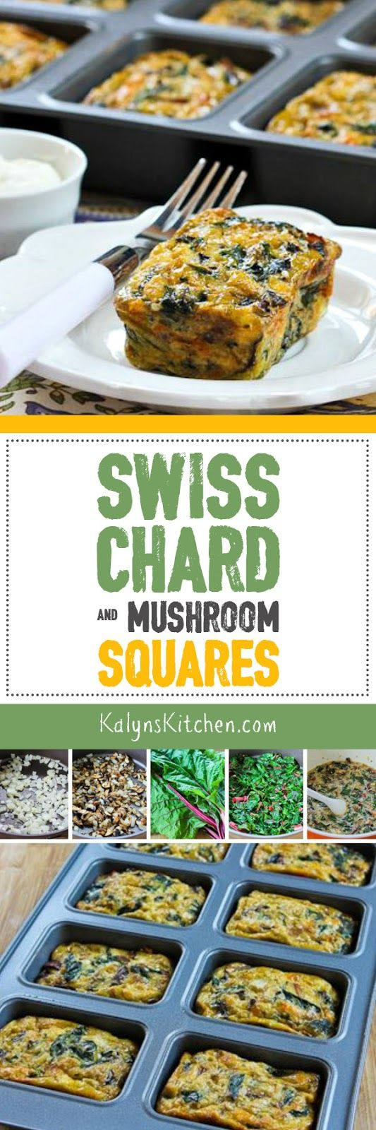Swiss Chard and Mushroom Squares are a fun idea for breakfast, lunch, or dinner, and this recipe is low-carb, gluten-free, South Beach Diet Phase One, and perfect for Meatless Monday! [found on KalynsKitchen.com]