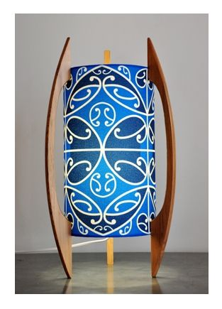 Blue Kowhaiwhai table lamp by Borrowed Earth Designs.