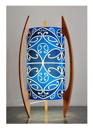 Blue Kowhaiwhai table lamp by Borrowed Earth Designs.
