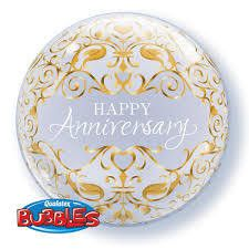 Qualatex   Helium Filled Happy Anniversary Bubble Balloon   Anniversary Party Theme & Supplies