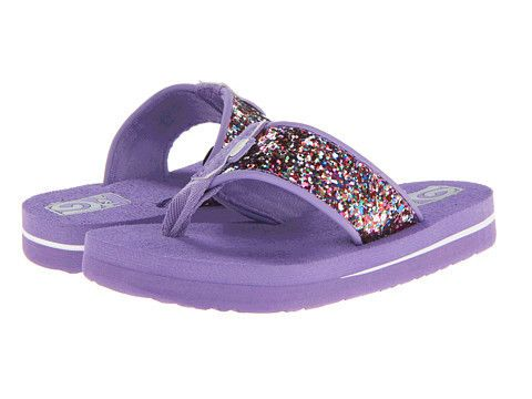 Teva Kids: Mush ll Sparkle (Purple) Little Kid/Big Kid The Teva Kid's Mush ll flip flops are a wonderful summertime sandal that are incredibly soft and conforms to your foot. Glittery sparkle in multiple colors on a purple background will give her style as well a comfort to keep her looking adorable as well as nice and cool through those warmer days of summer.