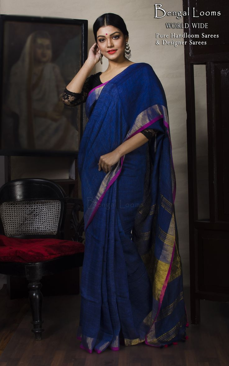 Zari Border Linen Saree in Dark Blue