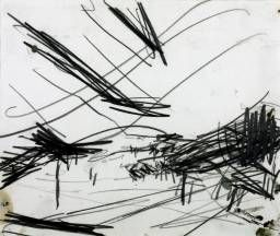 Frank Auerbach, 'Working Drawing for 'Primrose Hill'' 1968. Abstract drawing depicting trees, orchard?