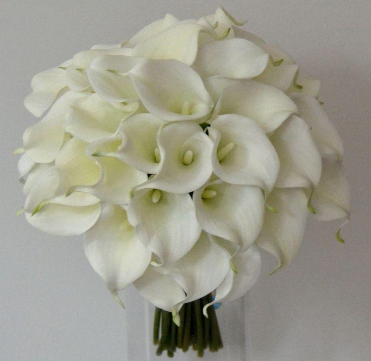 SILK WEDDING BOUQUET LATEX WHITE CREAM CALLA LILY BRIDAL POSY BOUQUETS FLOWERS