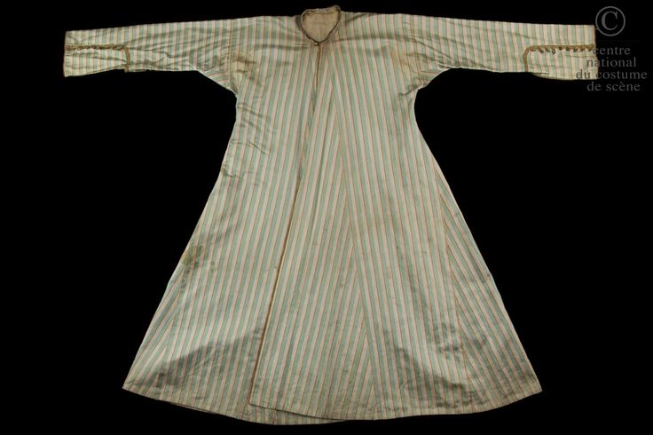 Eugène Garraud, caftan for an attendant of the  Mufti, in Molière - Lully's Le Bourgeois Gentilhomme play, produced by Emile Perrin, La Comédie Française,  1880, striped cotton satin, gold trim