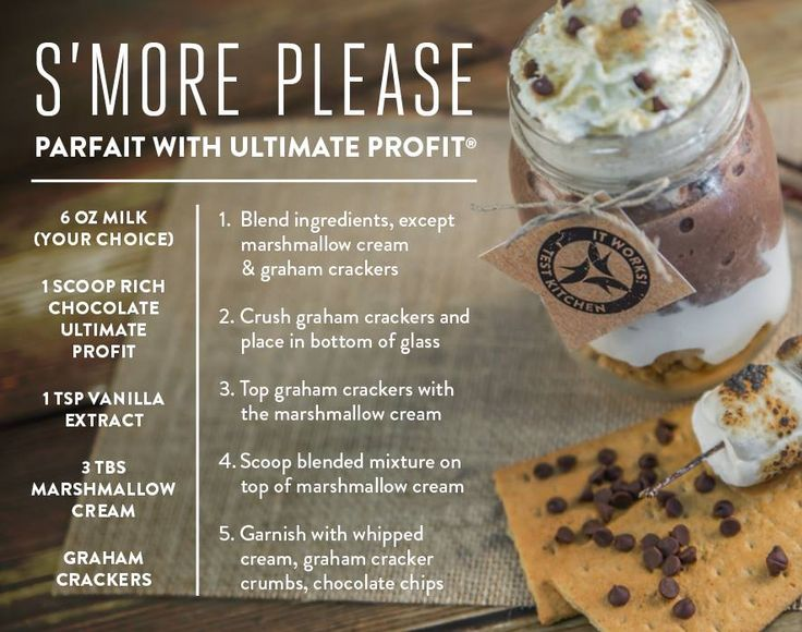 It Works ProFit Protein Shake Recipes. profit.howtonow.org  S'More #smoothie #proteinshake