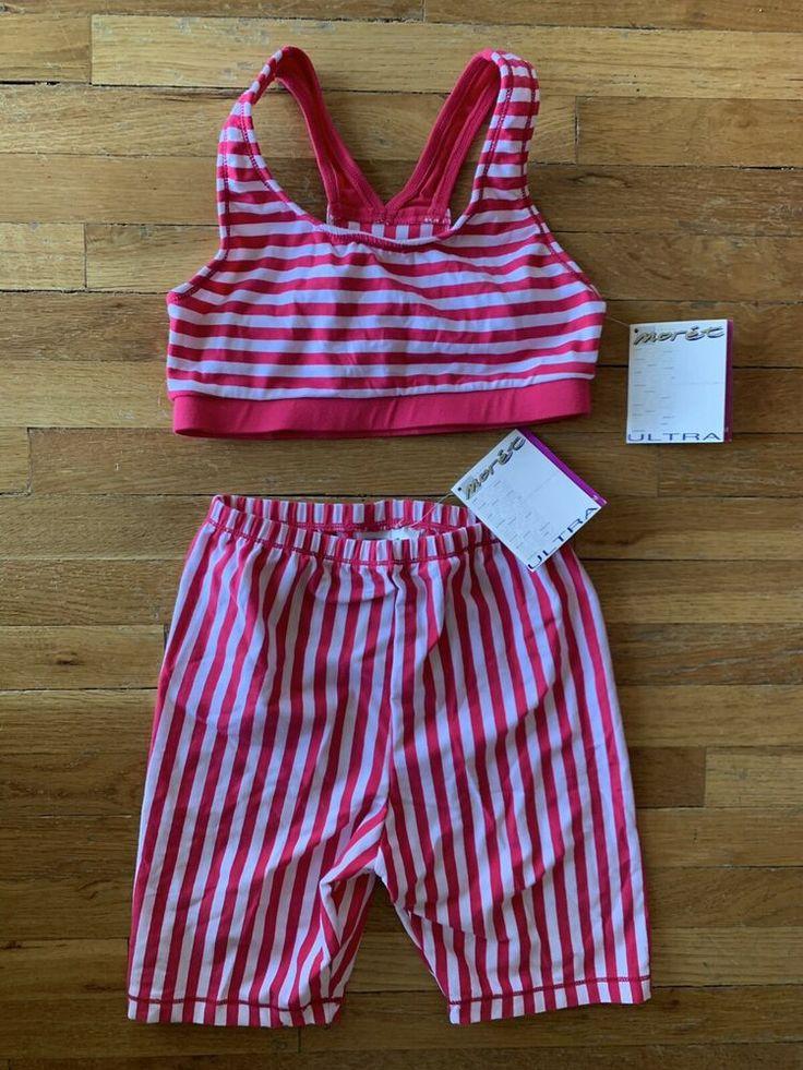 Vintage~1980's NWT Moret Ultra~Cherry Stripe Biker Shorts & Bra Aerobics Outfit ...