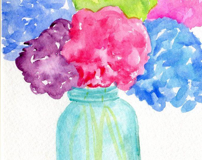 Pintura arte en florero Original, acuarela obras de arte originales para acuarelas venta, Bodegón de flores de Hortensia, hortensias Acuarela sobre papel de acuarela con acuarela original 5 por 7 pulgadas. Firmado por mí, Sharon Foster - un artista de Mississippi. (c) 2016 4