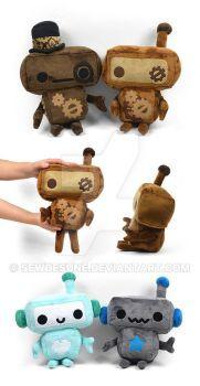 Steampunk Robot Plushies by SewDesuNe