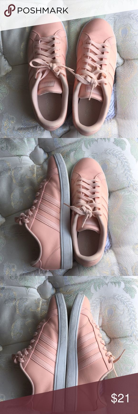 Peach Adidasneo Cloudfoam Shoe Lightly scuffed light peach adidas tennis shoes. Creasing on the right shoe. Dirty sides, but those can be cleaned up nicely. adidas Shoes Athletic Shoes