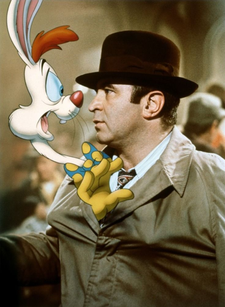 Roger Rabbit & Eddie Valient  ~ Who Framed Roger Rabbit Movie (1988) animation rabbit in movie with real actors