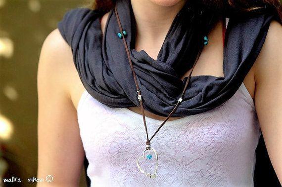 Zilveren hart ketting met hart hanger Turquoise hart hanger