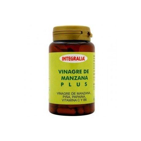 VINAGRE DE MANZANA PLUS INTEGRALIA 100 cápsulas es un producto que combina el poder quemagrasas del vinagre de manzana, con la acción diurética de la piña.