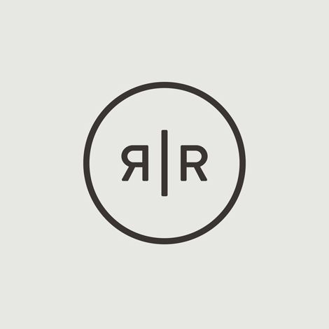 Really simple logo with no colour.  Monogram for London based tailor Roberto Revilla designed by Friends.