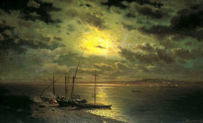 Lev Kamenev (1833-1886).  Moonlit Night on the River.