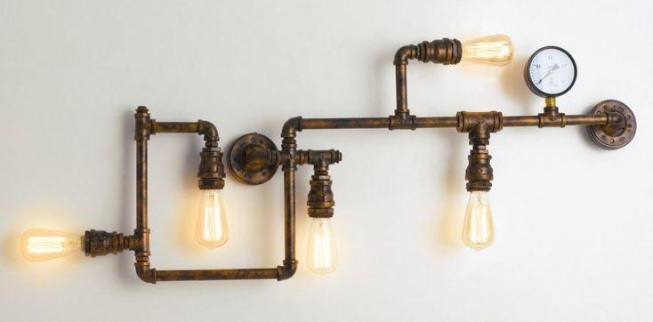 Plafón Estilo Industrial Vintage – tuberías efecto óxido