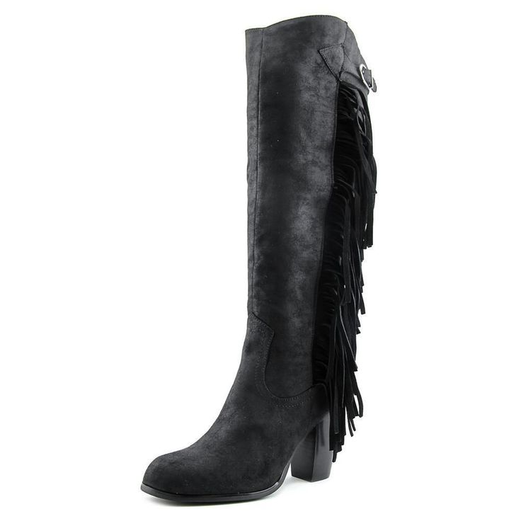 Carlos By Carlos Santana Roslyn Women Round Toe Leather Black Knee High Boot