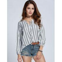 Nueva moda mujeres blusa manga larga con cuello en v Tops algodón dobladillo asimétrico floja impresión Casual
