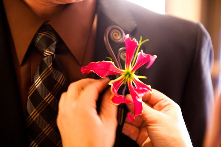 Enchanted Florist Las Vegas-gloriosa lily with monkey tail. #boutonniere