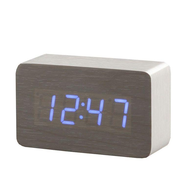 New Wood Bamboo LED Alarm Clock,Reloj Despertador Modern Temperature Sounds Control LED Electronic Desktop Digital Table Clocks