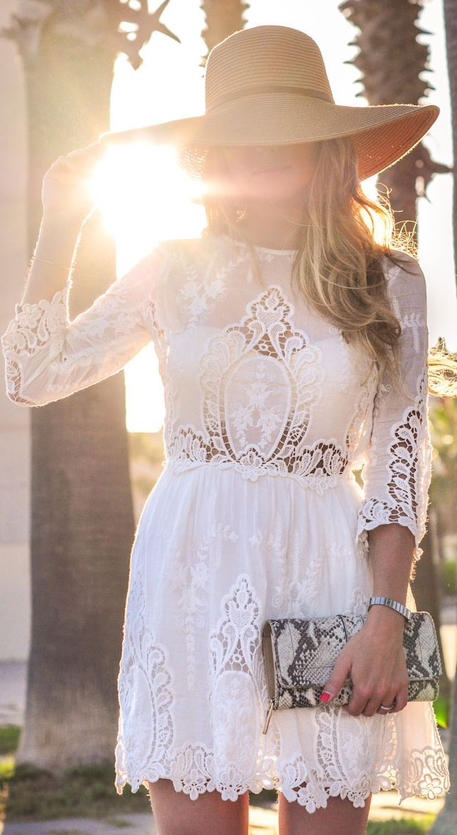 ♔ Dolce Vita Cream Lace Long Sleeve Dress by A Place To Get Lost