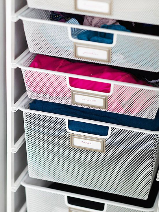 Tips For An Organized Home / Clothing Labels Jen Attached Adhesive  Bookplate Labels To The Wire Bins To Help Index Garments And Create A  Specific Home For ...