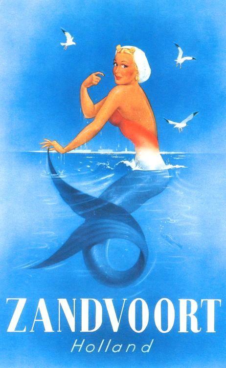 Zandvoort aan Zee, Holland. Dutch vintage travel poster. Illustration Jan Lavies, 1954