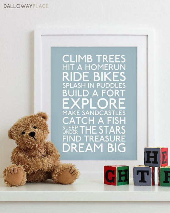 Baby Boy Nursery Art Print nursery decor kids wall art children nursery print baby gift typography poster - Subway Playroom Rules Sign 11x14. $19.00, via Etsy.