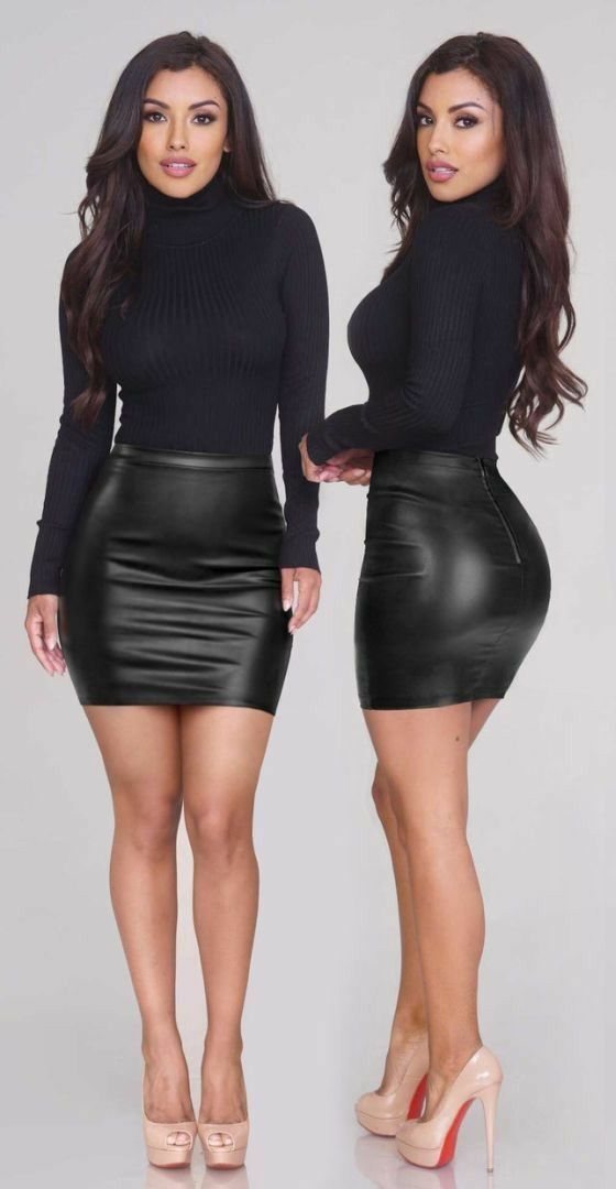 20c1416f590a54 Hot sexy office babe | Tight dresses in 2019 | Black leather skirts ...