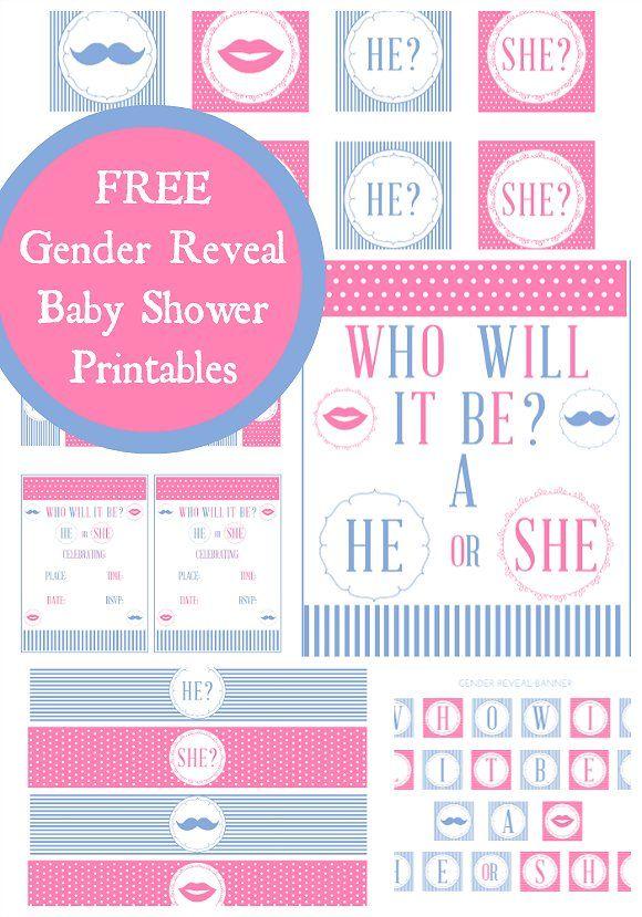 Free gender reveal baby shower printables! #genderreveal #babyshower #printables