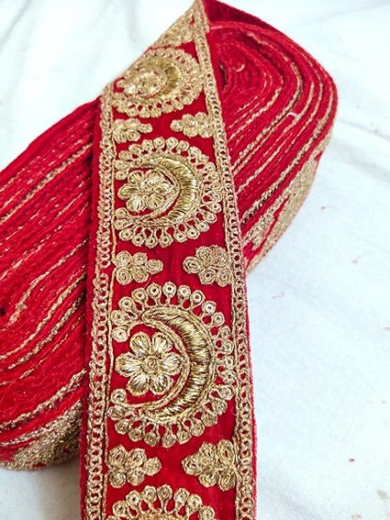 Red Golden Sequence Work Laces 10 Yards