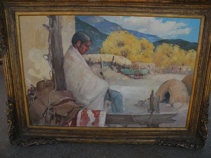 """""""Siesta"""" - Original Oil/Board Painting - by important New Mexico from therecklessnecklace on Ruby Lane"""