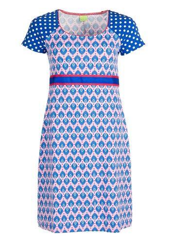 Dazzle Me kjole DENISE shsl Blue Love / dress / sød og sommerlig blå/rosa jerseykjole med prikker og hjerter