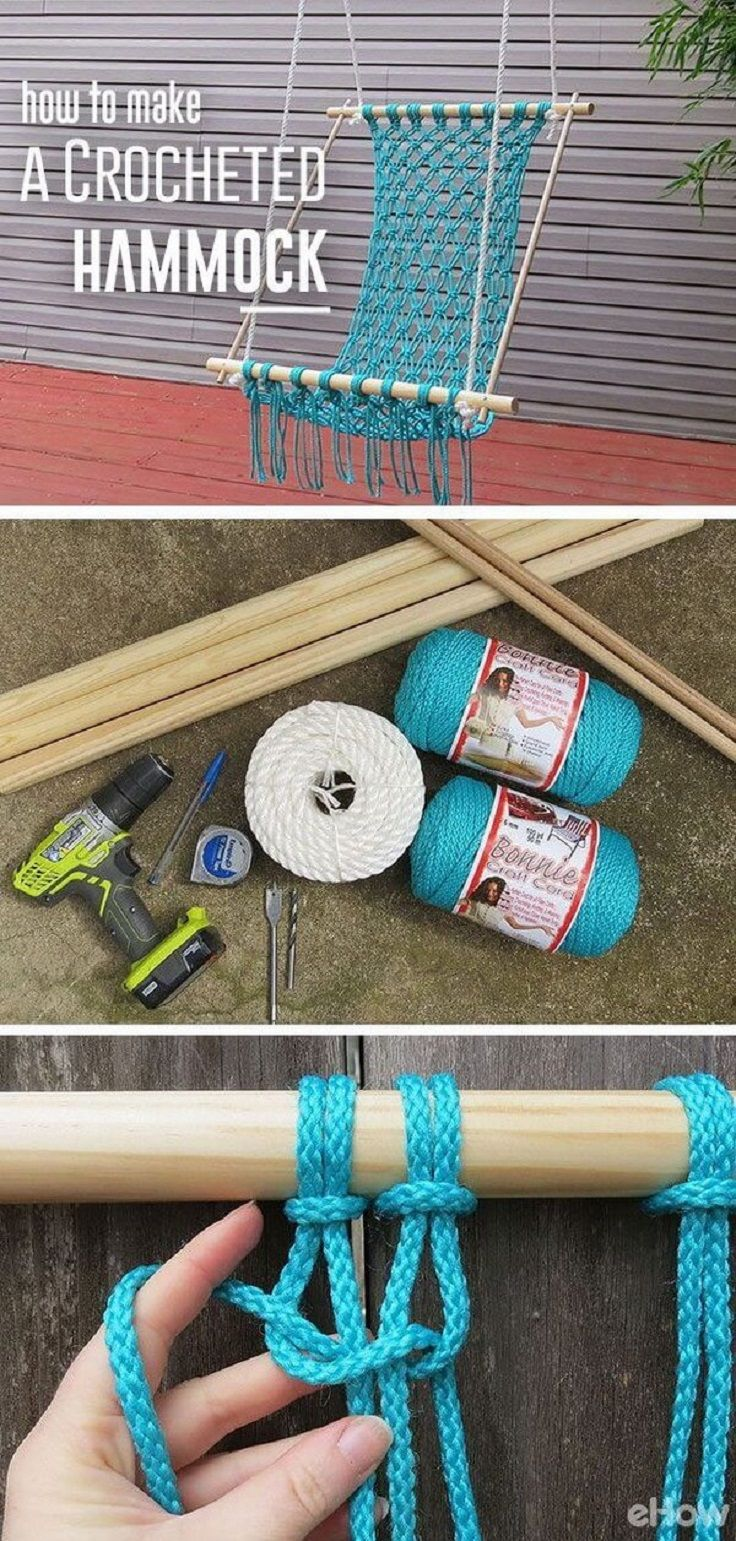 Caribbean Blue Crochet Hammock - 14 Awesome DIY Backyard Ideas to Finalize Your Outdoors Look on a Budget