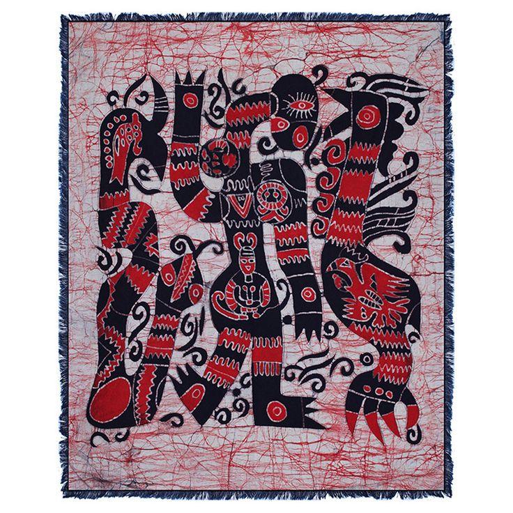 贵州苗族手工蜡染壁挂蜡染单层画民族特色装饰画 蛇与鸡70x90cm-淘宝网