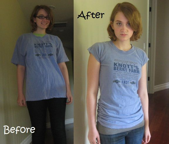Ruched tee shirt refashion. She uses dental floss instead of elastic. Hilarious. Cute though!