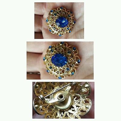 Vintage coro pin brooch blue stones with gold  signed