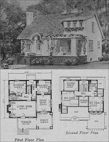 This house and plan were shown in the 1923 plan book, The Books of a Thousand Homes. It featured 500 small house plans. Most of them really were small by today's standards. This one reflects the post WWI movement away from the horizontally oriented Craftsman-style to the more modern and very romantic aesthetic of the 1920s. This particular plan was by Olsen & Urbain, Architects. Source: The Books of a Thousand Homes: 500 Small House Plans edited by Henry Atterbury Smith. From the Antique…