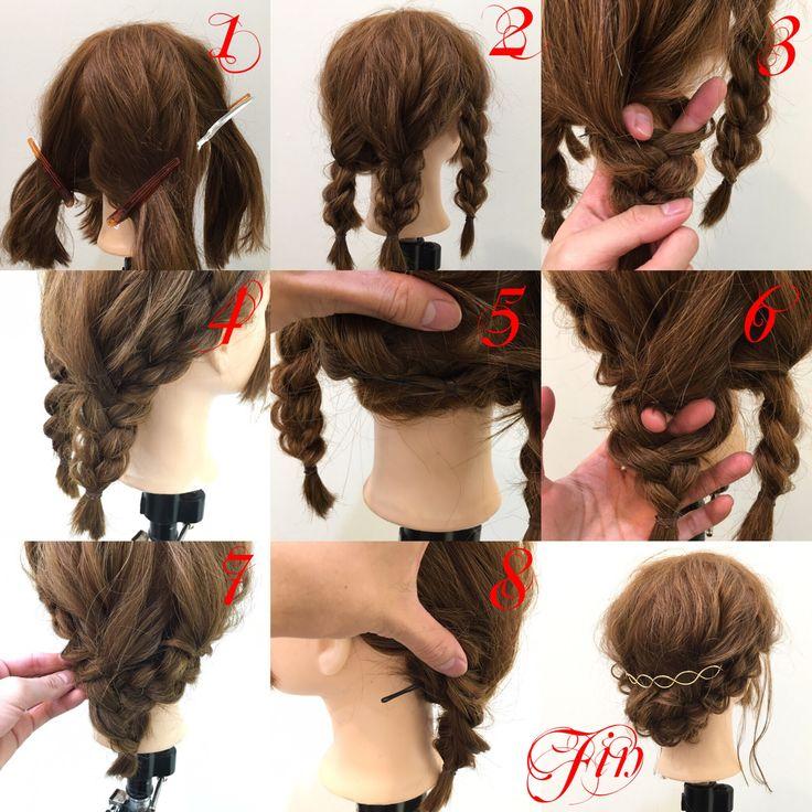 ミディアムアレンジ✨ 1,後ろと横を分けて後ろを二等分にして4分割にします 2,全部三つ編みをして先に崩します 3,三つ編みの最初の編み目の部分に指を入れ横の髪をそこに通します 4,通すと写真のようになります 5,通した横の髪を襟足部分にピン留めします(反対側も3.4.5と同じです) 6,左の三つ編みの最初の編み目の部分に指を入れ右の三つ編みを通します(左を通しても右を通してもどちらでも大丈夫です) 7,通すと写真のようになります 8,通した三つ編みを襟足部分にピン留めします(反対側も同じです) Fin,崩して飾りをつけたら完成です Instagramもお願いします✨