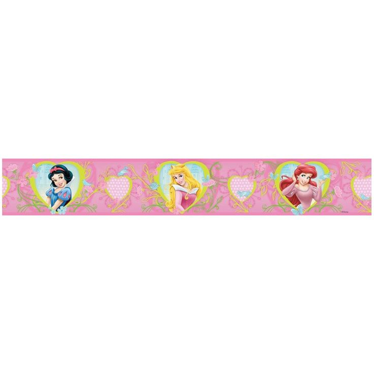 Disney Princess Hearts and Flowers Self Adhesive Wallpaper