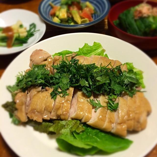 香草が手に入ったので、酔鶏を作った。 - 11件のもぐもぐ - 酔っぱらい鶏、ひろっこ酢味噌あえ、アボカドとトマトのサラダ、小松菜おひたし by raku_dar