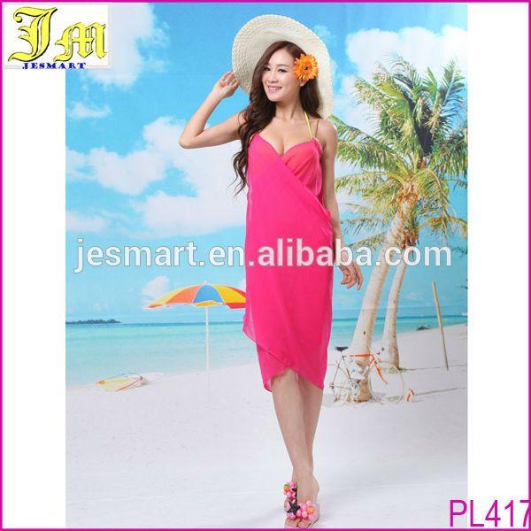 Source Cheap Chiffon Hot Sexy Girl Wrap Front Summer Cover Up Beach Dress Towel Swimwear On